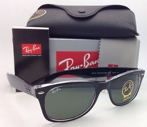 c171a411d1d RAY-BAN Sunglasses RB 2132 6052 52-18 NEW WAYFARER Black on Clear w ...