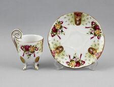 Kleine Porzellan - Mokkatasse mit Rosenfestons auf Füßchen 9987101