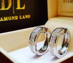 Women-Silver-Round-Crystal-Heart-Hoop-Ear-Stud-Earrings-Wedding-Bridal-Jewelry
