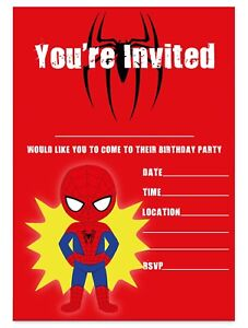 Details About Spiderman Theme Birthday Party Invitations Superhero Invites Children Boys Kids