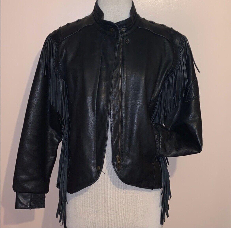 HARLEY DAVIDSON Black Fringed leather moto Jacket - image 8