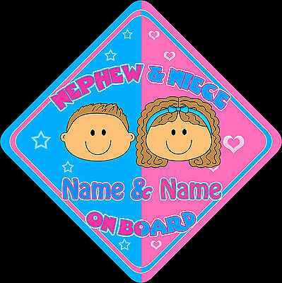 MYCR Personalised Baby On Board Car Sign Blue ~ Silver Grandson New