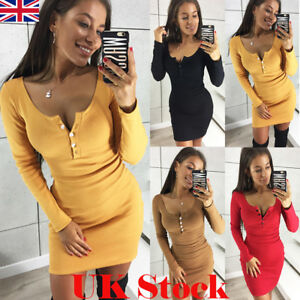 UK-Womens-Long-Sleeve-Bodycon-Party-Sexy-Ladies-Button-Evening-Club-Mini-Dress