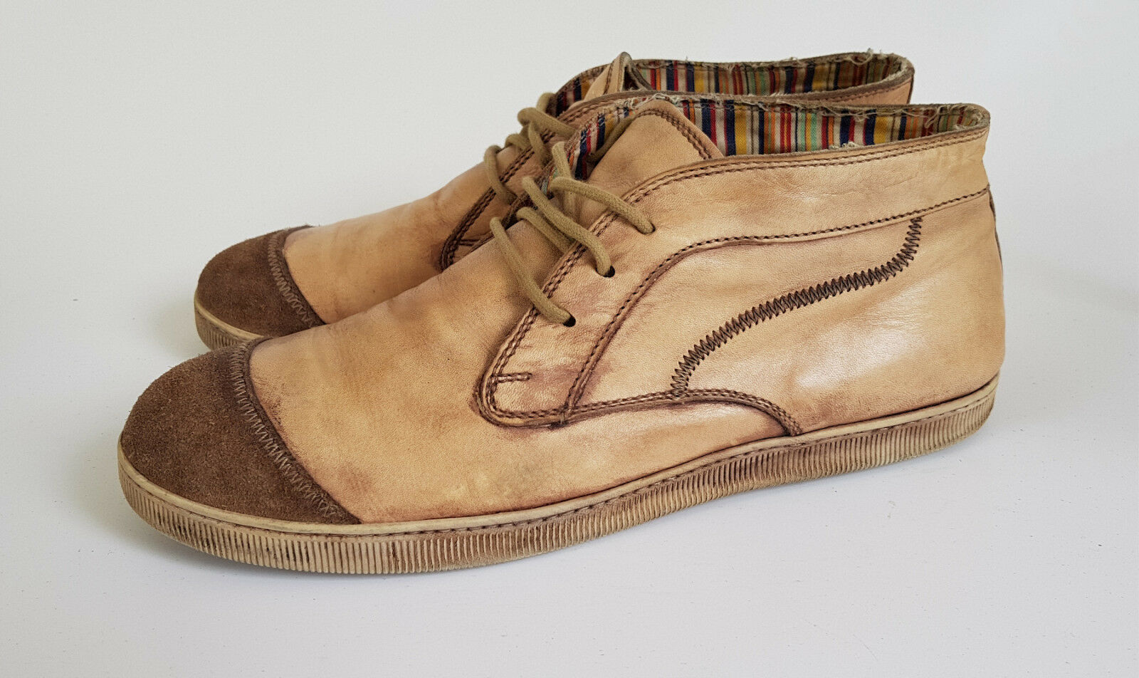 MOMA Herren Leder Stiefeletten Boots High Top Sneaker Braun gr 45