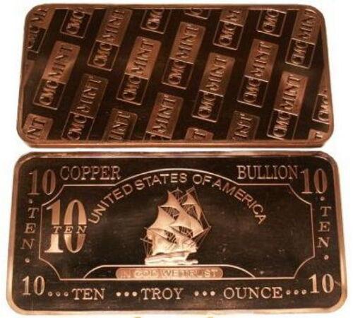 Kupferbarren-Kupfer-USA-10-oz-Unzen-999-Fein-Segelschiff-Schiff-Rar