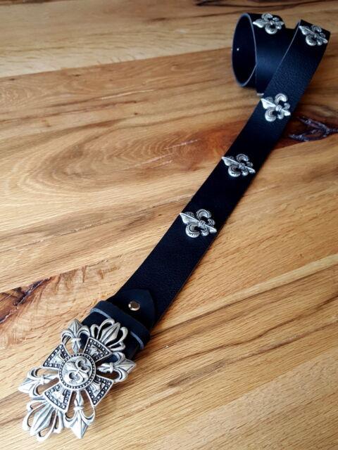 Ledergürtel Lilie Ziernieten Fleur de Lis Biker Rocker Wechselgürtel 4 cm