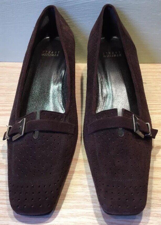 STUART WEITZMAN shoes Pierced Dark Brown Suede Leather Pumps Heels Great Sz 9.5