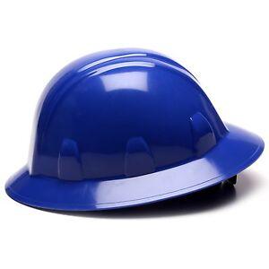 Pyramex Hard Hat Full Brim Blue with 4 Point Ratchet Suspension