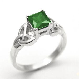 Trinity-Knot-Ring-Sterling-Silver-1-25ct-Princess-Cut-Emerald-Diamond-Unique