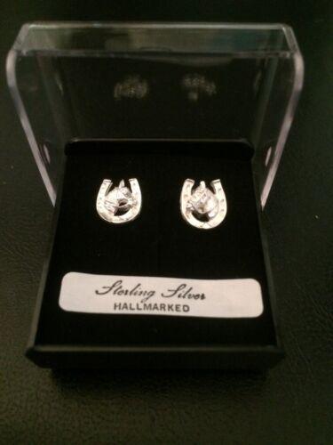 Horse head in horseshoe earrings solid sterling silver hallmarked jewellery gift