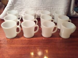 FIRE-KING-MILK-GLASS-12-MUGS-WHITE-RESTAURANT-D-HANDLE-MUG