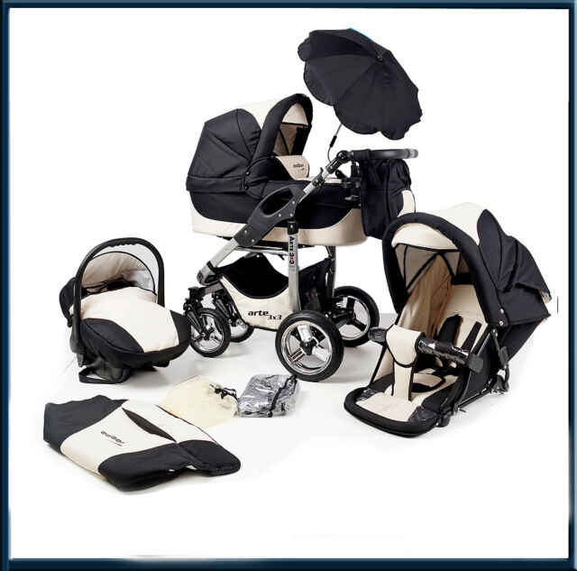 BARGAIN! Arte 3in1 -pram+pushchair_car seat; complies with BS 5852, 9 colours
