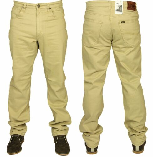 Da Uomo Lee Jeans Brooklyn Straight Leg Regular Fit Designer Navy Beige 30 a 44