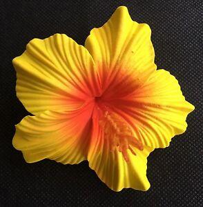 Hawaiian Foam Hibiscus Flower Hair Clip Yellow Red Wedding Bridal