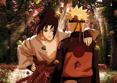 Abundante Sticker Autocollant Poster A4 Manga Naruto Shippuden.sasuke Et Naruto Dans Foret