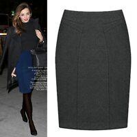 Women Winter Autumn Woolen OL Knee Length High Waist Straight Pencil Skirt S-3X