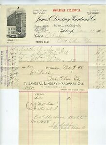 1898-1900-PITTSBURG-PENNSYLVANIA-BILLHEADS-JAMES-LINDSAY-HARDWARE-CO