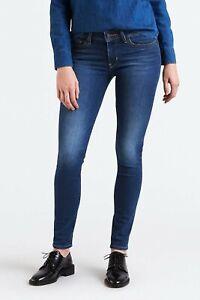 Levi's Premium 711 Women's Dark Blue Mid Rise Skinny Fit Jeans W26 W27 W28 L32