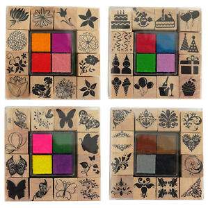 Set-Of-12-Wooden-Rubber-Stamps-amp-4-Colour-Ink-Pads-Assorted-Themes-Craft-0339