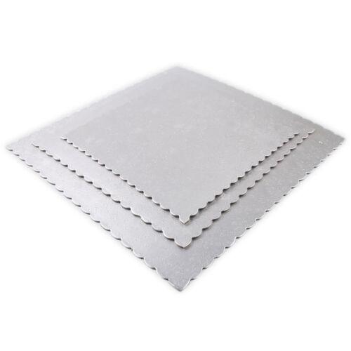 Quadrat Tortenunterlage Silber 3/'er Set