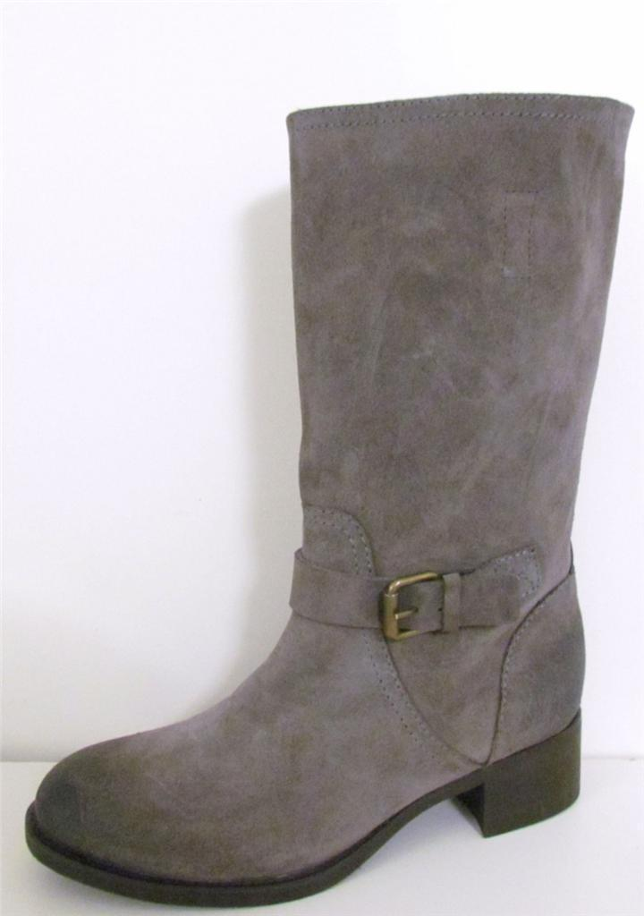 J Crew Ryder Buckle Suede Stiefel Pewter  268 NEW