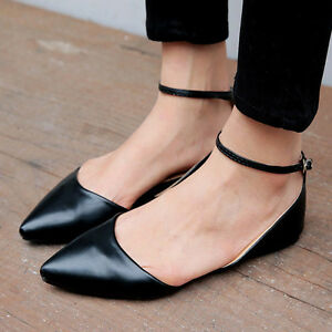 ede2faca665 Details about Womens Chic Fashion Flat Heels Pointed Toe Ankle Strap Casual Faux  Leather Shoes