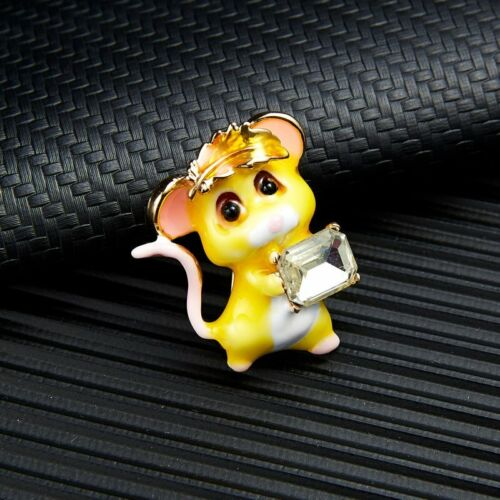 Fashion Lovely Women Crystal Animal Mouse Enamel Brooch Pin Unique New Year Gift