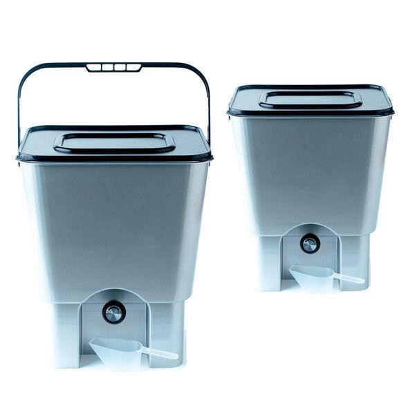2 x Bokashi Bins | Kitchen Composters & Bran | Pack of 2 x 18L Bokashi Buckets