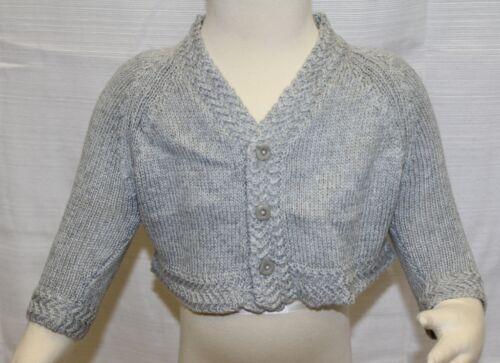 JACADI Girl/'s Afro Blue//Grey Long Sleeve Cotton//Wool Cardigan Sz 3 Months NWT