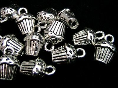 15 Pcs - Tibetan Silver 3d Cup Cake Charms 14mm Craft  Pendant Jewellery T30