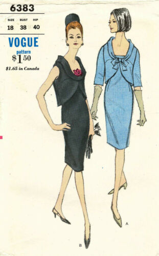1960's VTG VOGUE Misses' TwoPart Dress Pattern 6383 Size 18 UNCUT