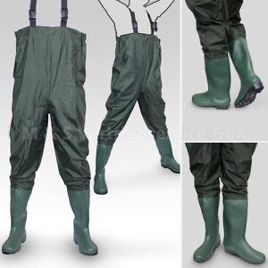 Wathose-Anglerhose-Angelhose-Watstiefel-Watthose-PVC-Gummi-Teichhose-mit-Stiefel