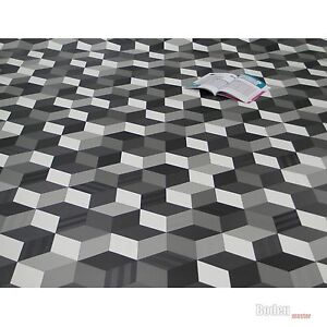 Pvc Cv Vinyl Bodenbelag Cube 3d Wurfel Schwarz Weiss Grau Breite 4