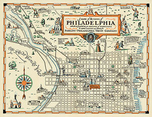 Early-Pictorial-Philadelphia-Map-Wall-Art-Poster-Print-Decor-Vintage-History