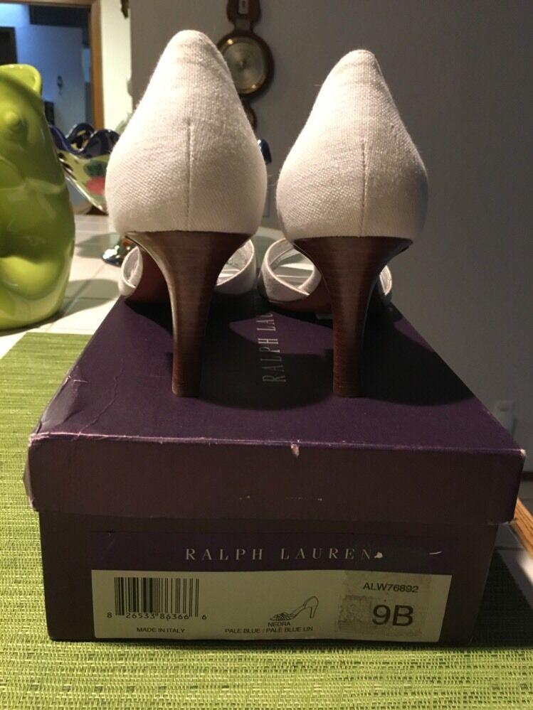 Ralph Lauren Purple Label Women's shoes  Nedra  Heels 9 Suede Linen New In Box
