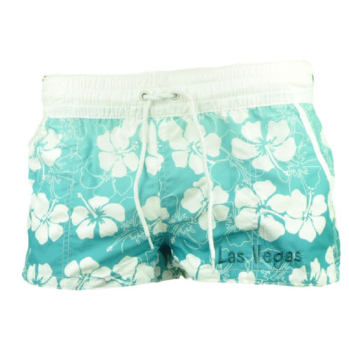 Las Vegas Tropical Flower Womens Board Swim Shorts Blue White Elastic Waist