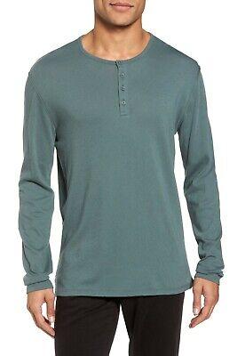 Vince Men's Cilantro Green Raw Edge Long Sleeve Henley T Shirt | eBay