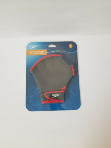 Speedo Aqua Fitness Training Swim Gloves Charcoal Red Small S P CH