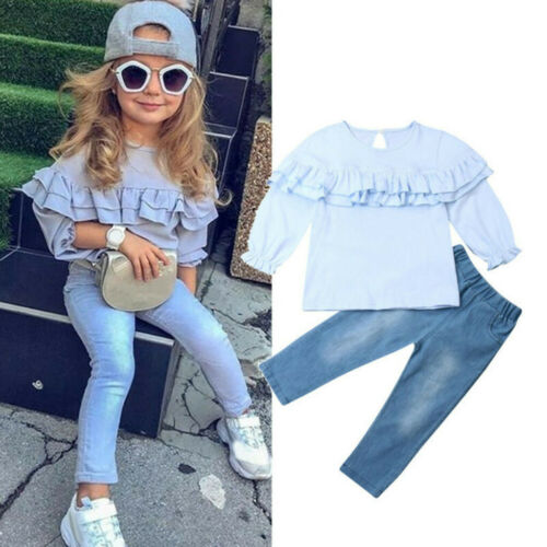 2PCS Toddler Kids Baby Girl Ruffles Solid Long Sleeve Top Jeans Pants Outfit Set