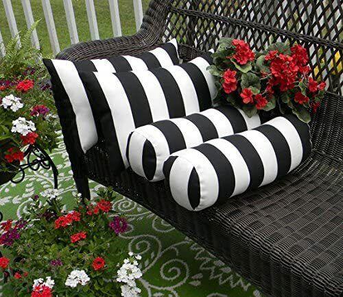 15x9 Black White Stripe Outdoor Lumbar