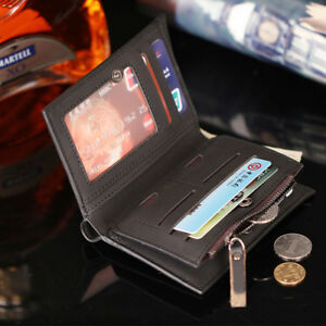 Portafoglio-Uomo-Cuoio-PU-Porta-Carte-di-Credito-Taschino-Zip-Monete-TG
