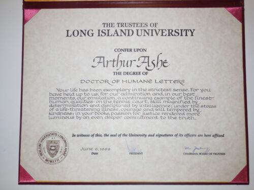 Arthur Ashe 1999 Honorary Degree From Long Island University - Tennis Legend