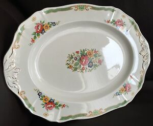 Antique-Art-Deco-1930s-Hand-Crafted-Alfred-Meakin-Pattern-034-Beauly-034-China-Platter