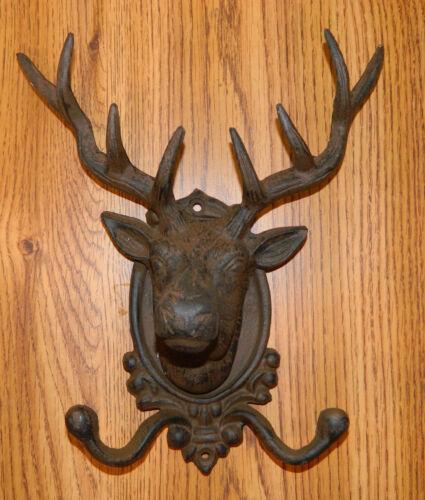 CAST IRON Elk-Deer Head Wall Hook Hanger Rustic Western /& Hunting Lodge Decor