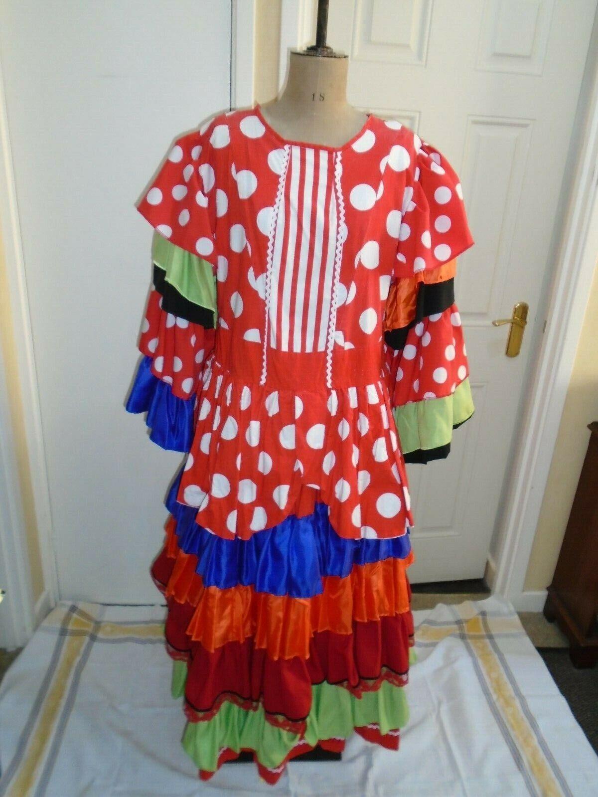 Dames spanish flamenco dress pantomime 48 inch bust