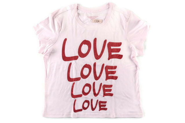 2073c17d2ee02 Victoria's Secret Sleep Baby Tee T-shirt Love Pink Bling Large Red Graphics