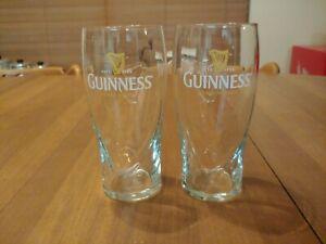 Set of 2 Guinness Pint Beer Glasses - Tulip Design - Embossed Harp