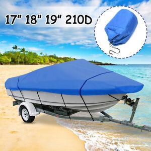 20-22ft Waterproof Trailerable Boat Cover Heavy-Duty 210D Fish Ski V-Hull Blue