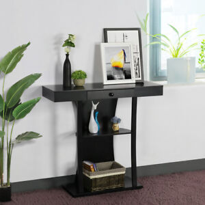 3 Tier Console Sofa Tables With Drawers Living Room Pedestal Entry Table  Black 675502236532 | EBay