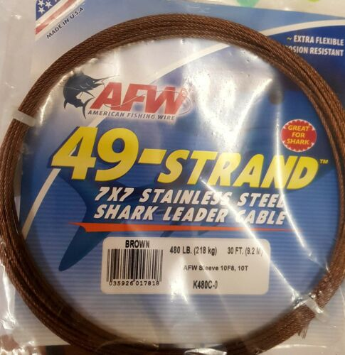 AFW 480LB 49 STRAND 7X7 STAINLESS LEADER CABLE